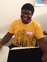 Ian Jones-Quartey, the creator of OK K.O.! Let's Be Heroes, signing autographs in February 2016