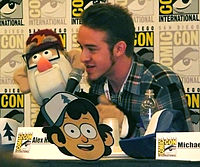 Alex Hirsch and Grunkle Stan puppet (character of Gravity Falls) at San Diego Comic-Con International 2013; Hirsch is the creator of Gravity Falls