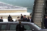 Ventura greeting President George W. Bush and Norm Coleman in 2002