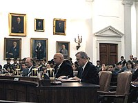 Governor of Minnesota Jesse Ventura (center) testifies on China's participation in the WTO in March 2000
