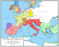 Map of the Barbarian kingdoms (major kingdoms and the Roman Empire labelled below) of the western Mediterranean in 526, seven years before the campaigns of reconquest under Eastern Emperor Justinian I