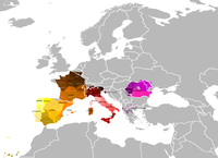 Romance languages, languages that developed from Latin following the collapse of the Western Roman Empire, are spoken in Western Europe to this day and their extent almost reflects the continental borders of the old Empire.