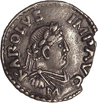 Denarius of Frankish king Charlemagne, who was crowned as Roman Emperor Karolus Imperator Augustus in the year 800 by Pope Leo III due to, and in opposition to, the Roman Empire in the East being ruled by Irene, a woman. His coronation was strongly opposed by the Eastern Empire.