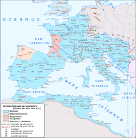 The Western Roman Empire in 418 AD, following the abandonment of Britannia and the settlement of the Visigoths, Burgundians and Suebi within imperial territory as foederati
