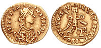 6th-century Visigothic coin, struck in the name of Emperor Justinian I
