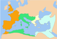Division of the Roman Empire among the Caesars appointed by Constantine I: from west to east, the territories of Constantine II, Constans I, Dalmatius and Constantius II. After the death of Constantine I (May 337), this was the formal division of the Empire, until Dalmatius was killed and his territory divided between Constans and Constantius.