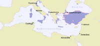 Map of the Eastern Roman Empire in 717 AD. Over the course of the seventh and eighth centuries, Islamic expansion had ended Roman rule in Africa and though some bastions of Roman rule remained, most of Italy was controlled by the Lombards.