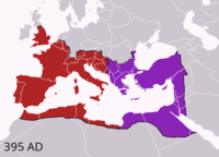The division of the Empire after the death of Theodosius I, c.undefined 395 AD, superimposed on modern borders