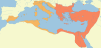 The Eastern Roman Empire, by reoccupying some of the former Western Roman Empire's lands, enlarged its territory considerably during Justinian's reign from 527 (red) to 565 (orange).