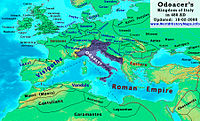 Odoacer's Italy in 480 AD, following the annexation of Dalmatia