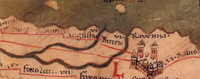 The city of Ravenna, Western Roman capital, on the Tabula Peutingeriana, a 13th-century medieval map possibly copied from a 4th- or 5th-century Roman original