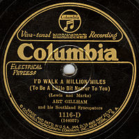 The American label of an electrically recorded Columbia disc by Art Gillham from the mid-twenties