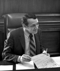Harvey Milk in 1978. Milk was the first openly gay elected politician in California.