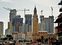 """As seen in 2006, the high-rise construction in Miami has inspired popular opinion of """"Miami manhattanization"""""""