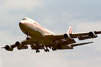 The aircraft involved, VT-EFO, seen on 10 June 1985, less than two weeks before the bombing of Air India Flight 182