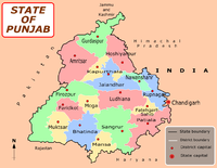 Map of the present-day Indian state of Punjab. Following the partition, East Punjab became PEPSU, which was further divided in 1966 with the formation of the new states of Haryana and Himachal Pradesh as well as the current state of Punjab. Punjab is the only state in India with a majority Sikh population.