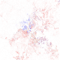 Map of racial distribution in Nashville, 2010 U.S. Census. Each dot is 25 people: White, Black, Asian , Hispanic , or Other (yellow)