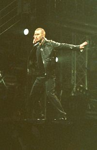 Timberlake performing during The Justified World Tour at the Earls Court Exhibition Centre, August 2003