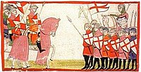 A 14th century conflict between Guelph and Ghibelline factions as portrayed in the Nuova Cronica by Giovanni Villani