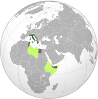 Map of the Italian Empire at its maximum extent, with colonies in light green and protectorates or occupied areas during World War II in grey
