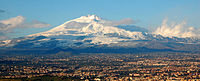 Mount Etna is an active stratovolcano in Sicily.