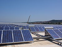 Solar panels in Piombino. Italy is one of the world's largest producers of renewable energy.