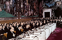 The signing ceremony of the Treaty of Rome on 25 March 1957, creating the European Economic Community, forerunner of the present-day European Union. Italy is a founding member of all EU institutions.