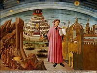 Dante shown holding a copy of the Divine Comedy, next to the entrance to Hell, the mount of Purgatory and the city of Florence, with the spheres of Heaven above, in Michelino's fresco, 1465