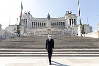 President Sergio Mattarella at the Altar of the Fatherland, wearing a protection mask during the COVID-19 pandemic.