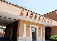 Entrance to Cinecittà in Rome, the largest film studio in Europe