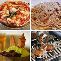 Clockwise from top left; some of the most popular Italian foods: pizza (Margherita), pasta (Carbonara), espresso, and gelato