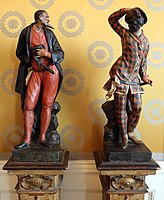 Statues of Pantalone and Harlequin, two stock characters from the Commedia dell'arte, in the Museo Teatrale alla Scala