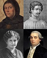 Clockwise from top left: Thomas Aquinas, proponent of natural theology and the Father of Thomism; Giordano Bruno, one of the major scientific figures of the Western world; Cesare Beccaria, considered the Father of criminal justice and modern criminal law; Maria Montessori, credited with the creation of the Montessori education.
