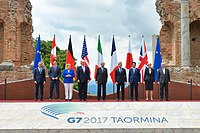 Group photo of the G7 leaders at the 43rd G7 summit in Taormina
