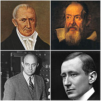 Clockwise from top: Alessandro Volta, inventor of the electric battery and discoverer of methane; Galileo Galilei, recognised as the Father of modern science, physics and observational astronomy; Guglielmo Marconi, inventor of the long-distance radio transmission; Enrico Fermi, creator of the first nuclear reactor, the Chicago Pile-1
