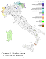 The ethno-linguistic minorities officially recognised by Italy