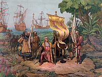 Christopher Columbus leads an expedition to the New World, 1492. His voyages are celebrated as the discovery of the Americas from a European perspective, and they opened a new era in the history of humankind and sustained contact between the two worlds.