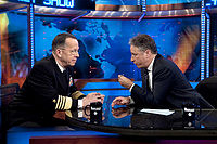 Stewart interviewing Admiral Michael Mullen on The Daily Show