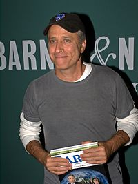 Stewart at the launch of his book, Earth (The Book), in New York, September 27, 2010