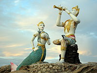 Sculptures of Phra Aphai Mani and the Mermaid from the epic poem Phra Aphai Mani, a work of Sunthorn Phu.