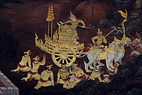 Scene from the Ramakien depicted on a mural at Wat Phra Kaew.