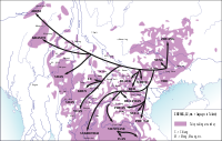 Map showing geographic distribution of Tai-Kadai linguistic family. Arrows represent general pattern of the migration of Tai-speaking tribes along the rivers and over the lower passes.