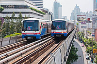 The BTS Skytrain is an elevated rapid transit system in Bangkok