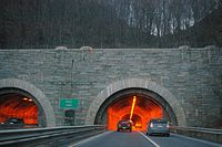 The Wilbur Cross Parkway passes through West Rock via Heroes Tunnel, the only highway tunnel in Connecticut.