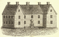 House of New Haven Founder Theophilus Eaton as it stood at Orange and Elm streets in the 17th Century