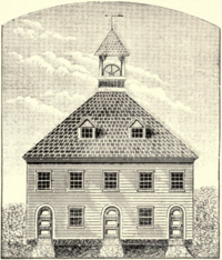 Second meeting house on the New Haven Green, as it stood from 1670 to 1757