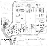 The 1638 nine-square plan, with the extant New Haven Green at its center, continues to define New Haven's downtown