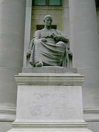 Statue of Roman orator Cicero at the New Haven County Courthouse