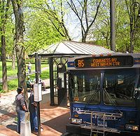 A New Haven Division bus in Downtown New Haven, near the Green