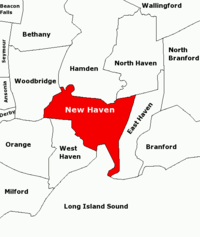 Map of towns in the New Haven area